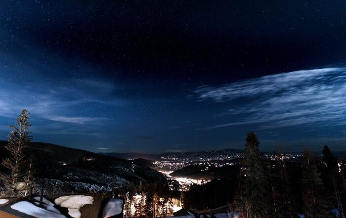 Dark Sky and Snowy Scenery of Homes in Deer Valley