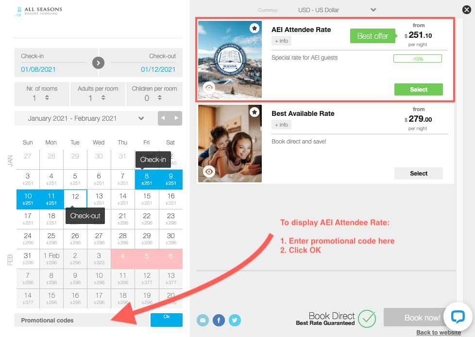 Screenshot showing how to enter a promotional code