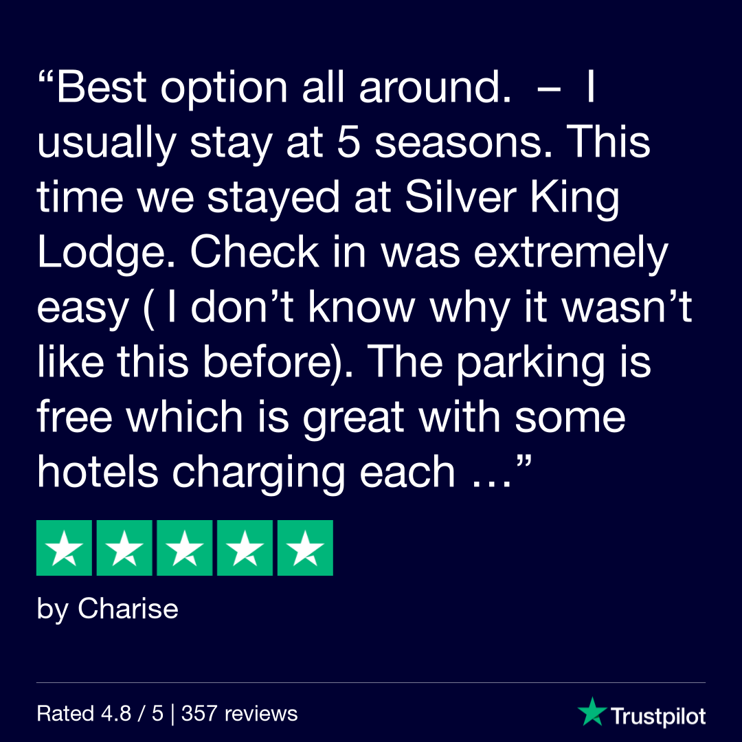 [Text Over Image] I usually stay at 5 seasons. This time we stayed at Silver King Lodge. Check in was extremely easy ( I don't know why it wasn't like this before). The parking is free which is great with some hotels charging each...