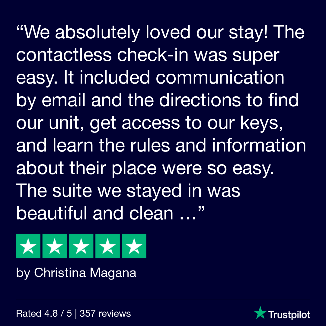 [Text Over Image] We absolutely loved our stay! The contactless check-in was super easy. It included communication by email and the directions to find our unit, get access to our keys, and learn the rules and information about their place were so easy. The suite we stayed in was beautiful and clean.