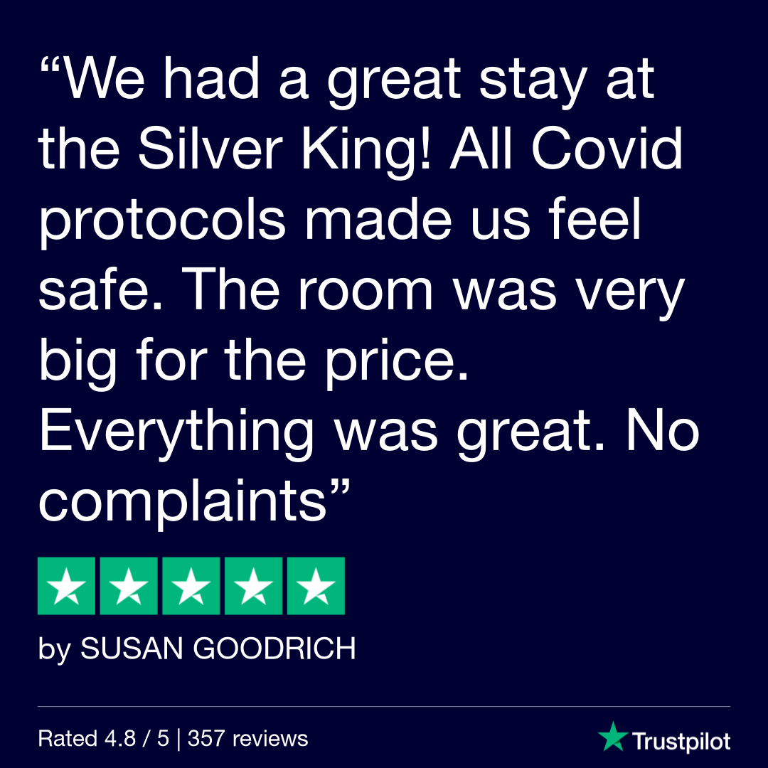 [Text Over Image] We had a great stay at the Silver King! All Covid protocols made us feel safe. The room was very big for the price. Everything was great. No complaints