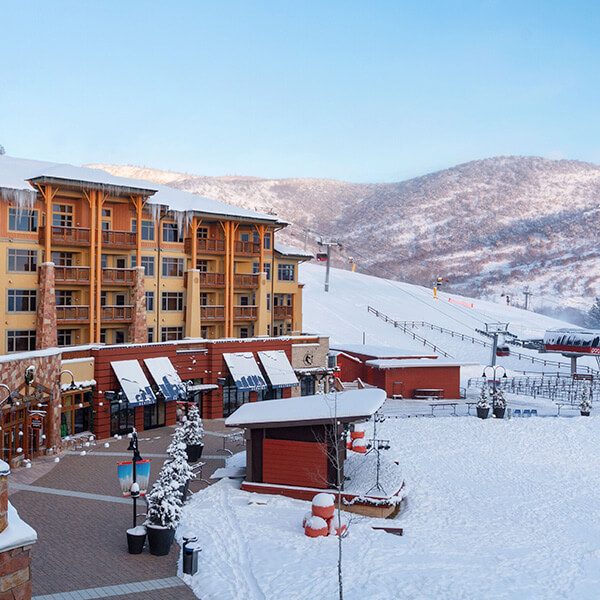 Sundial Lodge on a Blue-Sky Ski Day at Canyons Village in Park City, Utah