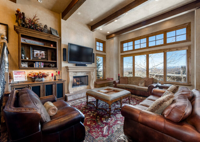 Vaulted Living Room at Slopeside Vintage Palace in Canyons Village
