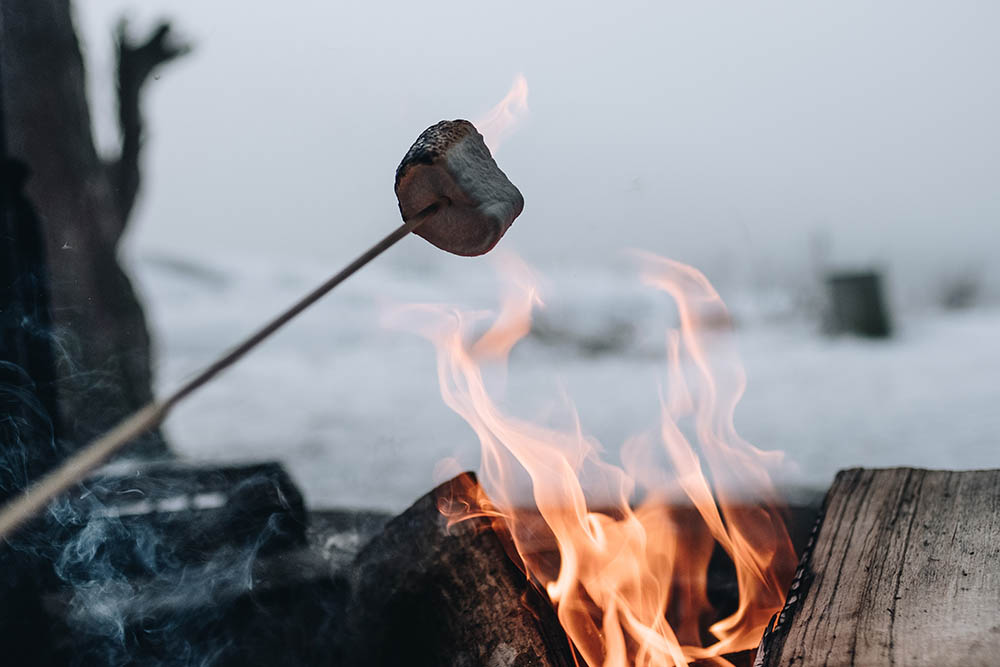 marshmallows roasting on a campfire