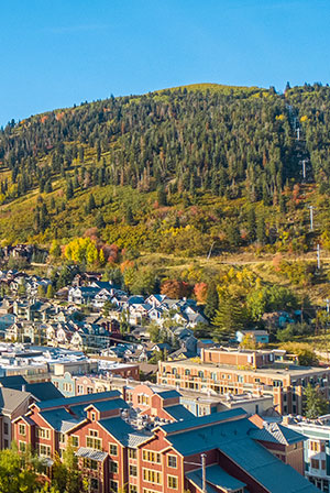 An Aerial View of Downtown Park City, Utah in the Summer