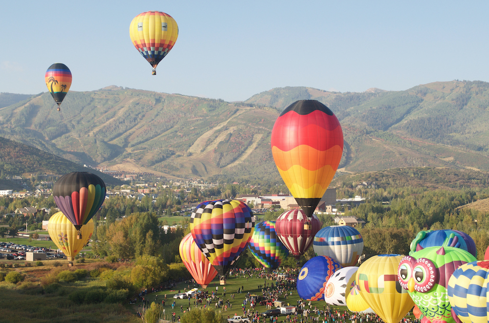 Hot Air Balloons Flying Above Park City