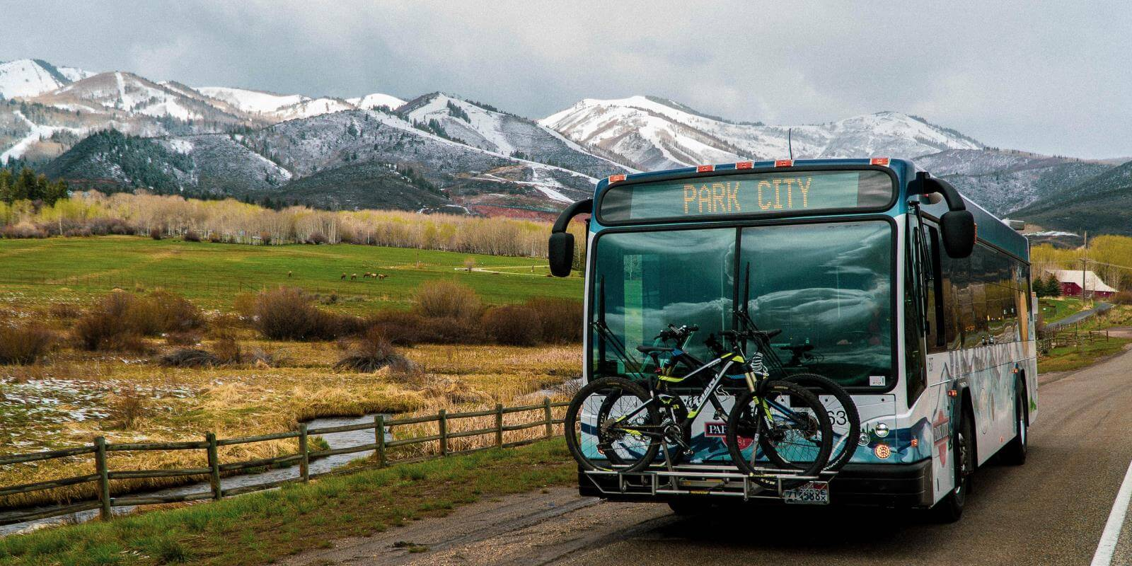 A Park City Transit Bus Carrying Two Mountain Bikes